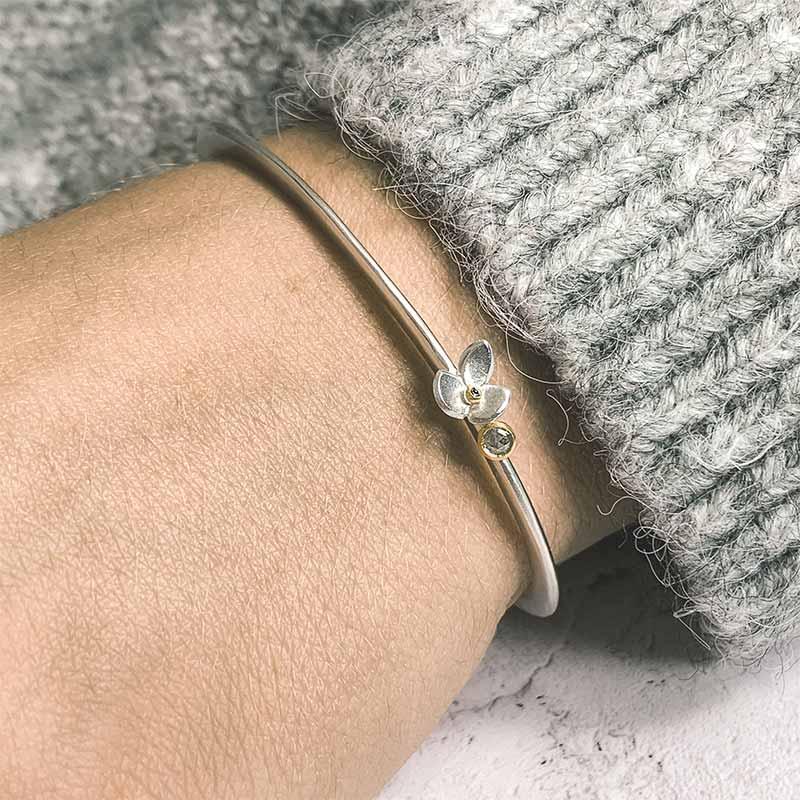 Grey Rosecut Diamond Silver Cuff Bracelet On Model Jacks Turner Designer Jewellery Bristol Uk
