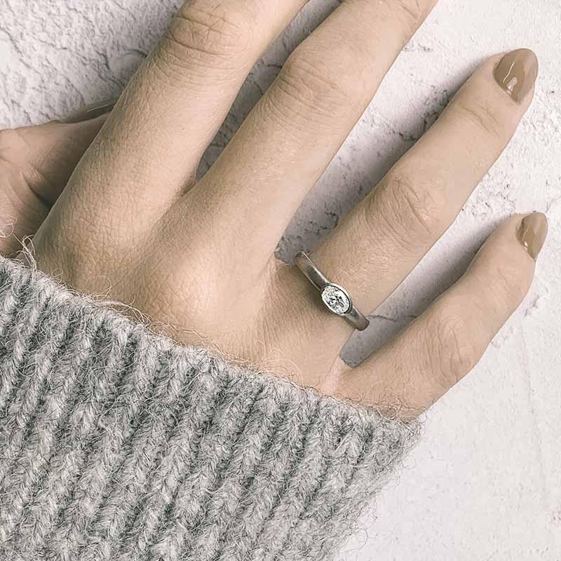 Oval Diamond Ring On Model Platinum Engagement Ring Designed By Jacks Turner Bristol Jeweller Uk