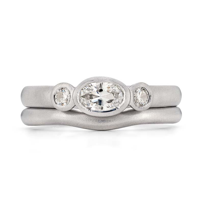 Oval Diamond Trilogy Engagement Ring Platinum 2Mm Curved Wedding Ring Designed By Jacks Turner Bristol Jeweller