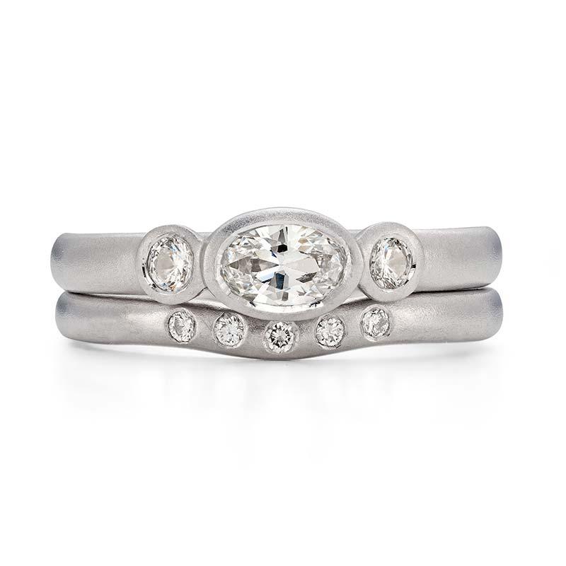 Oval Diamond Trilogy Engagement Ring Platinum 5 Diamond 2Mm Curved Wedding Ring Designed By Jacks Turner Bristol Jeweller