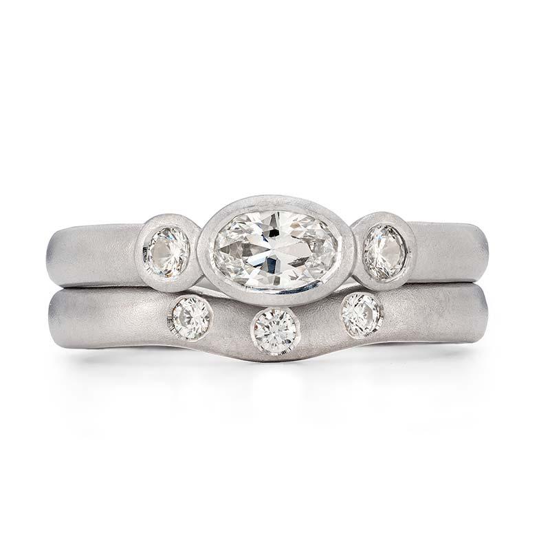 Oval Diamond Trilogy Engagement Ring Platinum Three Diamond 3Mm Curved Wedding Ring Designed By Jacks Turner Bristol Jeweller