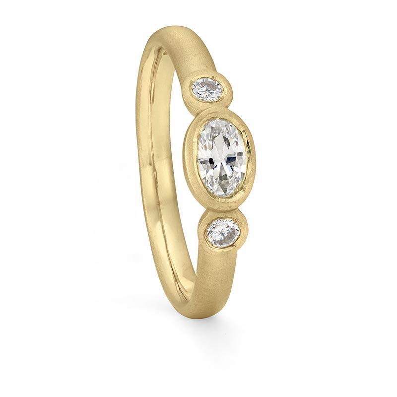 Oval Diamond Trilogy Ring Gold Engagement Designed By Jacks Turner Bristol Jeweller