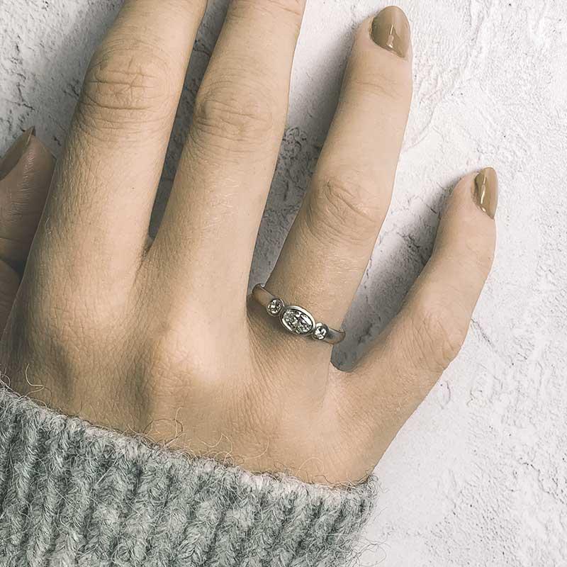 Oval Diamond Trilogy Ring On Model Platinum Engagement Designed By Jacks Turner Bristol Jeweller