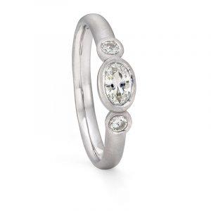 Oval Diamond Trilogy Ring Platinum Engagement Designed By Jacks Turner Bristol Jeweller
