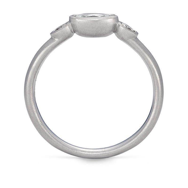 Oval Diamond Trilogy Ring Platinum Engagement Front View Designed By Jacks Turner Bristol Jeweller