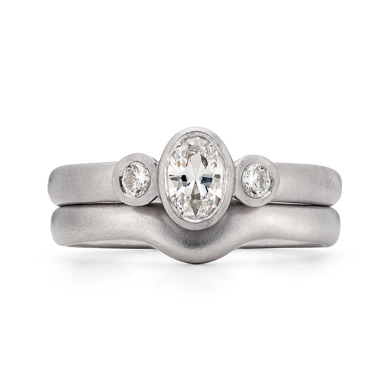 Oval Trio Diamond Engagement Ring Platinum 2.7 Curved Wedding Ring Designed By Jacks Turner Bristol Jeweller