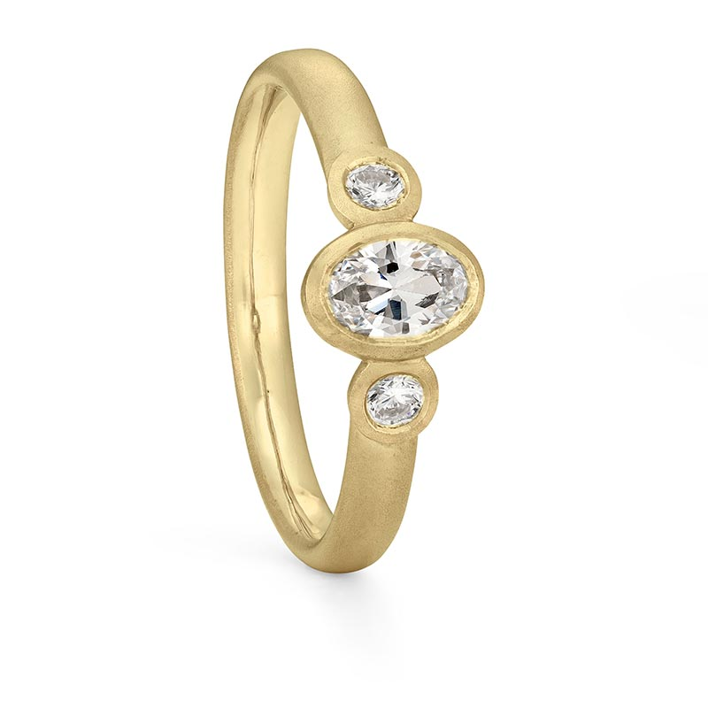 Oval Trio Diamond Ring Gold Engagement Designed By Jacks Turner Bristol Jeweller