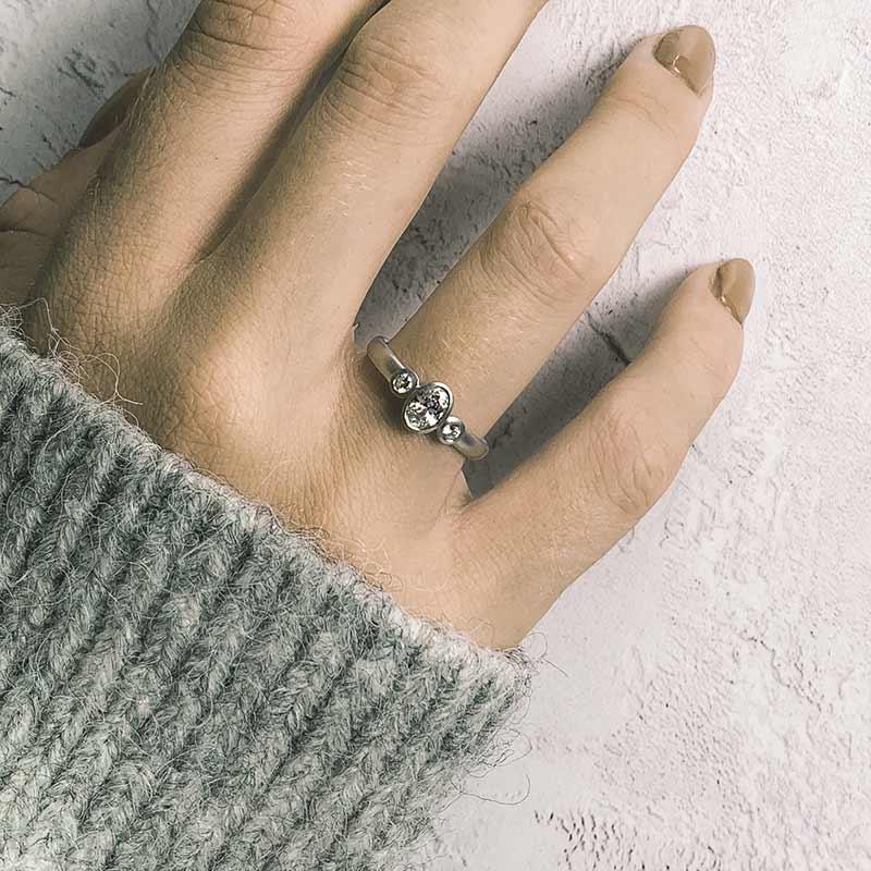 Oval Trio Diamond Ring On Model Platinum Engagement Designed By Jacks Turner Bristol Jeweller Uk 1
