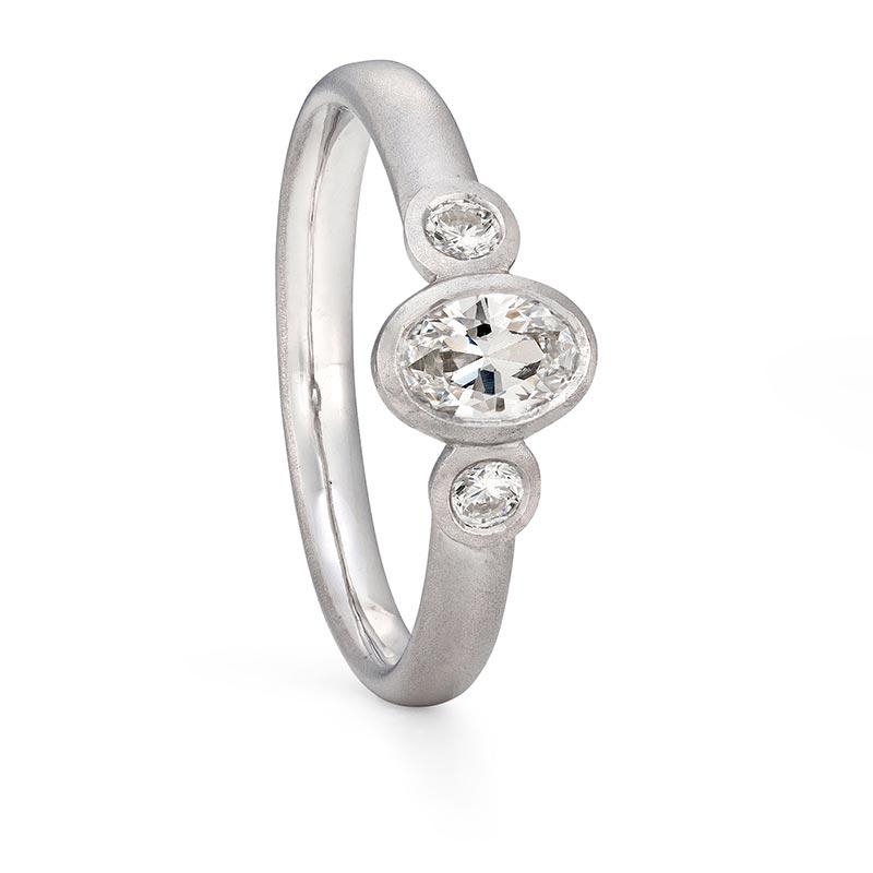 Oval Trio Diamond Ring Platinum Engagement Designed By Jacks Turner Bristol Jeweller