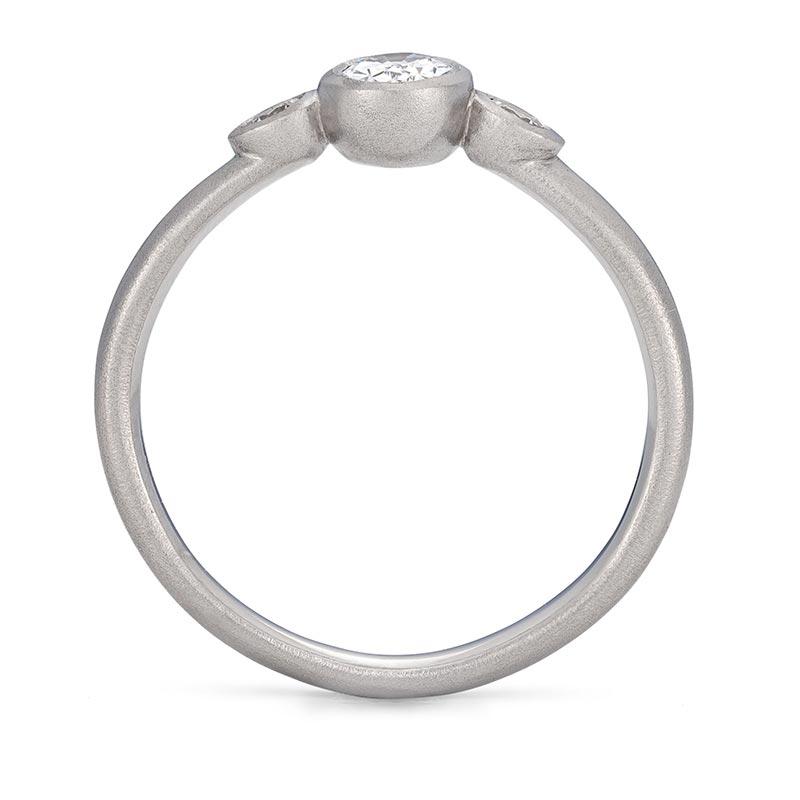 Oval Trio Diamond Ring Platinum Engagement Front View Designed By Jacks Turner Bristol Jeweller