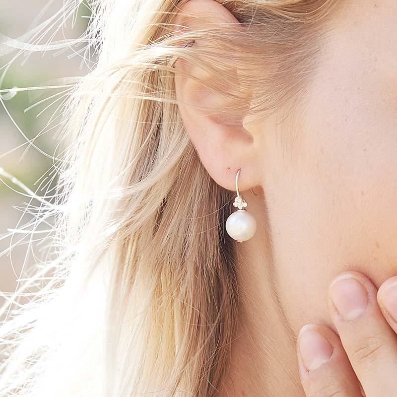 Pearl Drop Diamond Earrings Silver On Model Bridal Wedding Jewellery Designer Jacks Turner Bristol Uk