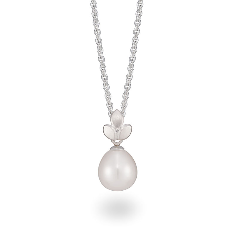 Pearl drop silver necklace with a diamond. Handmade by Jacks Turner in her Bristol Jewellery design studio.