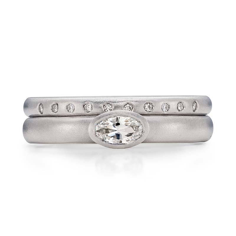 Petite Oval Diamond Engagement Ring Platinum 10 Diamond 2Mm Wedding Ring Designed By Jacks Turner Bristol Jeweller