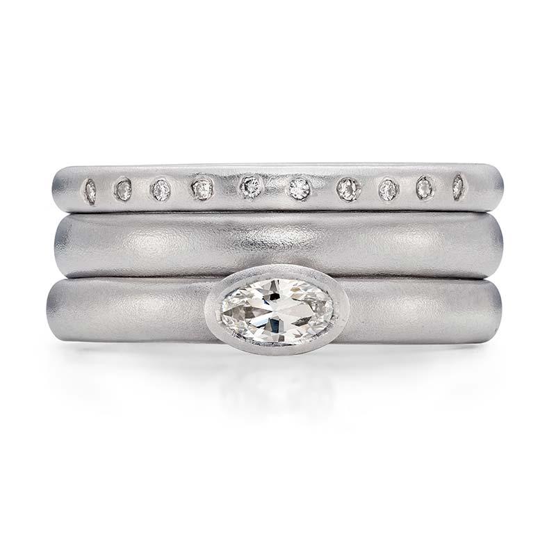 Petite Oval Diamond Engagement Ring Platinum 3Mm Wedding Ring 10 Diamond 2Mm Eternity Ring Designed By Jacks Turner Bristol Jeweller