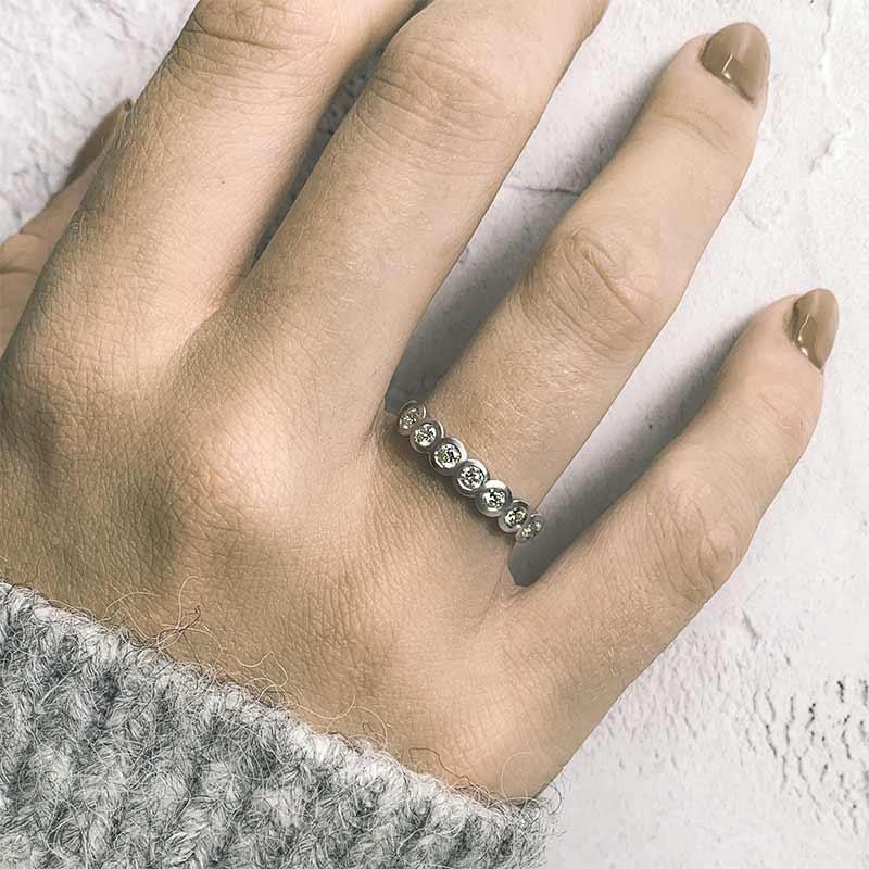 Seven Diamond Eternity Ring On Model Platinum Designed By Jacks Turner Bristol Jeweller
