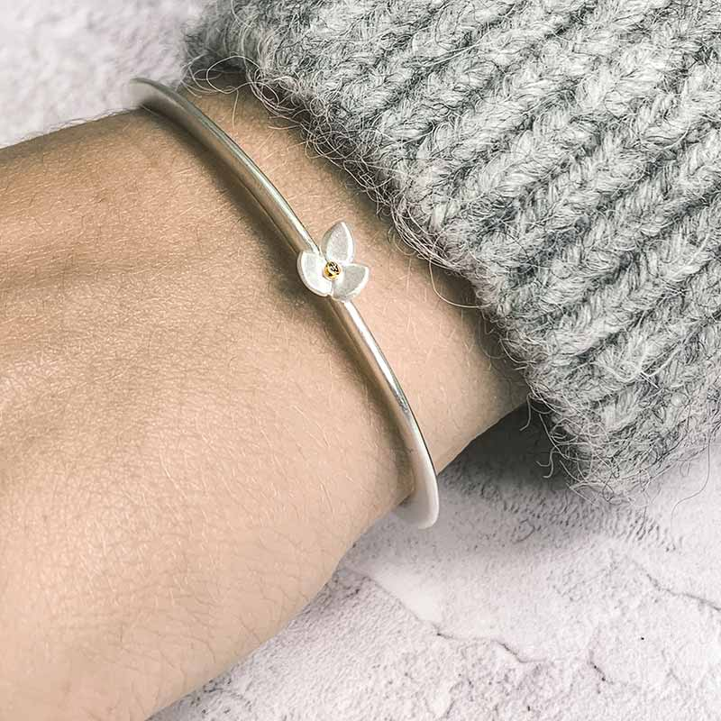 Silver Gold Cuff Bracelet On Model Jacks Turner Designer Jewellery Bristol Uk