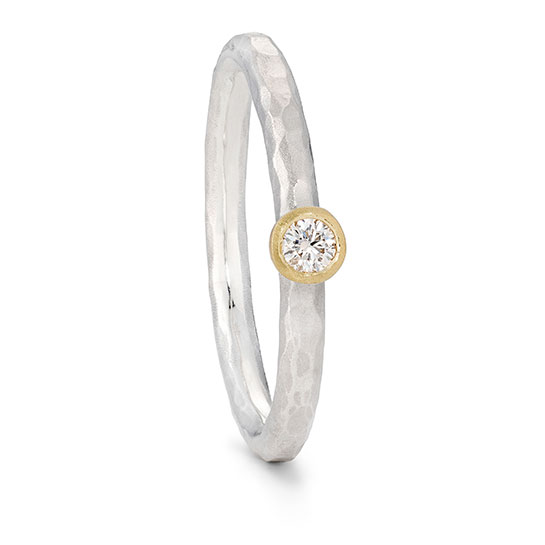 Silver Textured Diamond Ring With Gold Setting Engagement Ring By Jacks Turner Bristol