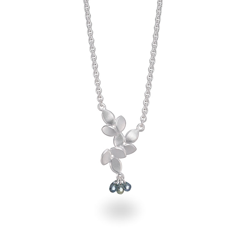 Three Sapphire Silver Necklace Jacks Turner Designer Jewellery Bristol Uk