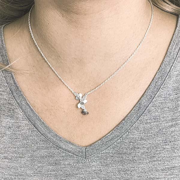 Three Sapphire Silver Necklace On Model Jacks Turner Designer Jewellery Bristol Uk