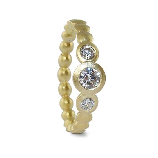 Trio Diamond Engagement Ring Yellow Gold Designed Jacks Turner