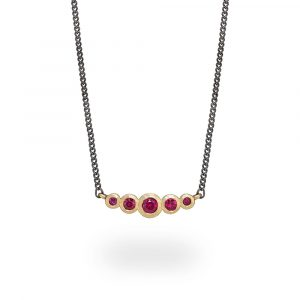 Ruby graduated bar necklace 9ct gold. Jacks Turner Jewellery Bristol