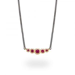 Ruby Graduated Bar Necklace 9Ct Gold. Jacks Turner Jewellery Bristol