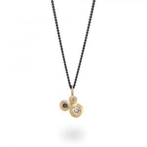 Salt and pepper diamond trilogy cluster Pendant in 9ct gold. Jacks Turner Jewellery Bristol