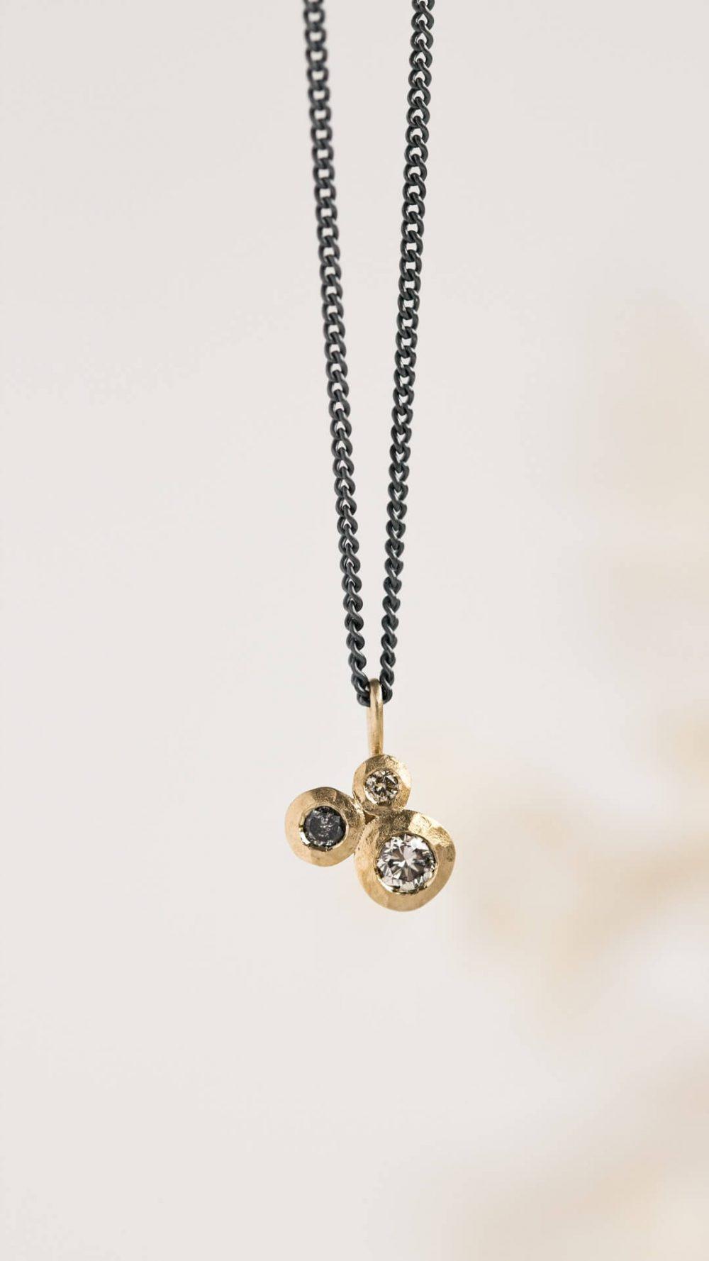 Gold Diamond Necklace Pendant Oxidised Silver Chain Jacks Turner Jewellery Bristol