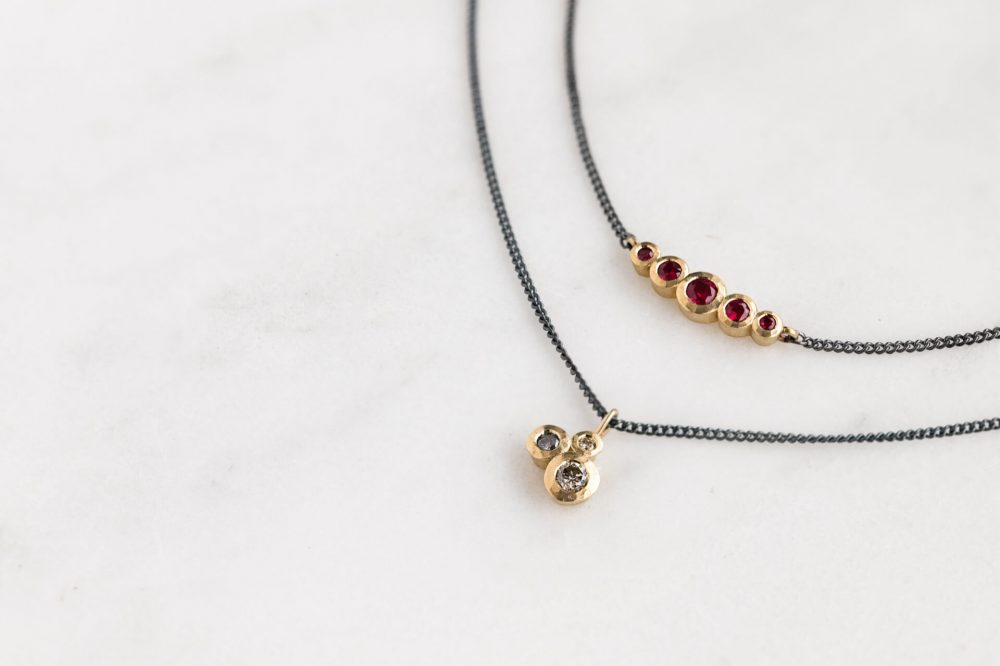 Gold Diamond Ruby Oxidised Silver Chain Necklaces 1 Jacks Turner Jewellery Bristol