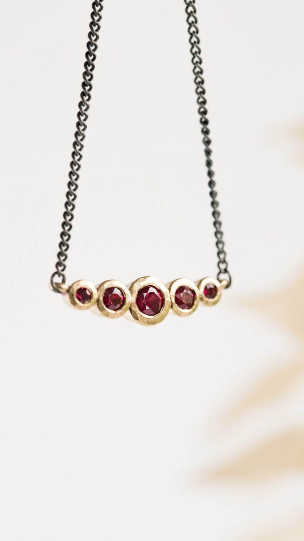 Gold Ruby Necklace 3 Oxidised Silver Chain Jacks Turner Jewellery Bristol