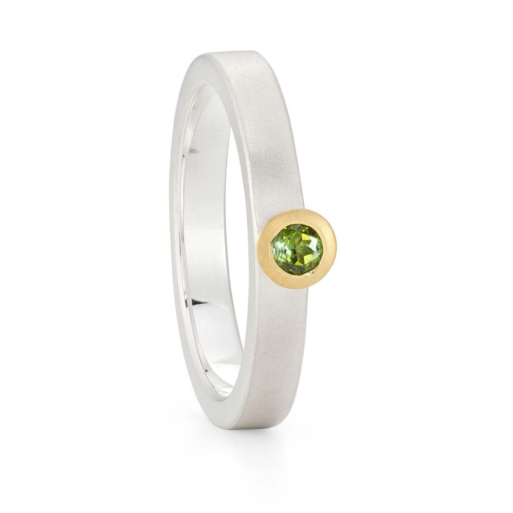 3Mm Green Tourmaline Silver Gold Trumpet Ring Designed By Jacks Turner Bristol Jeweller