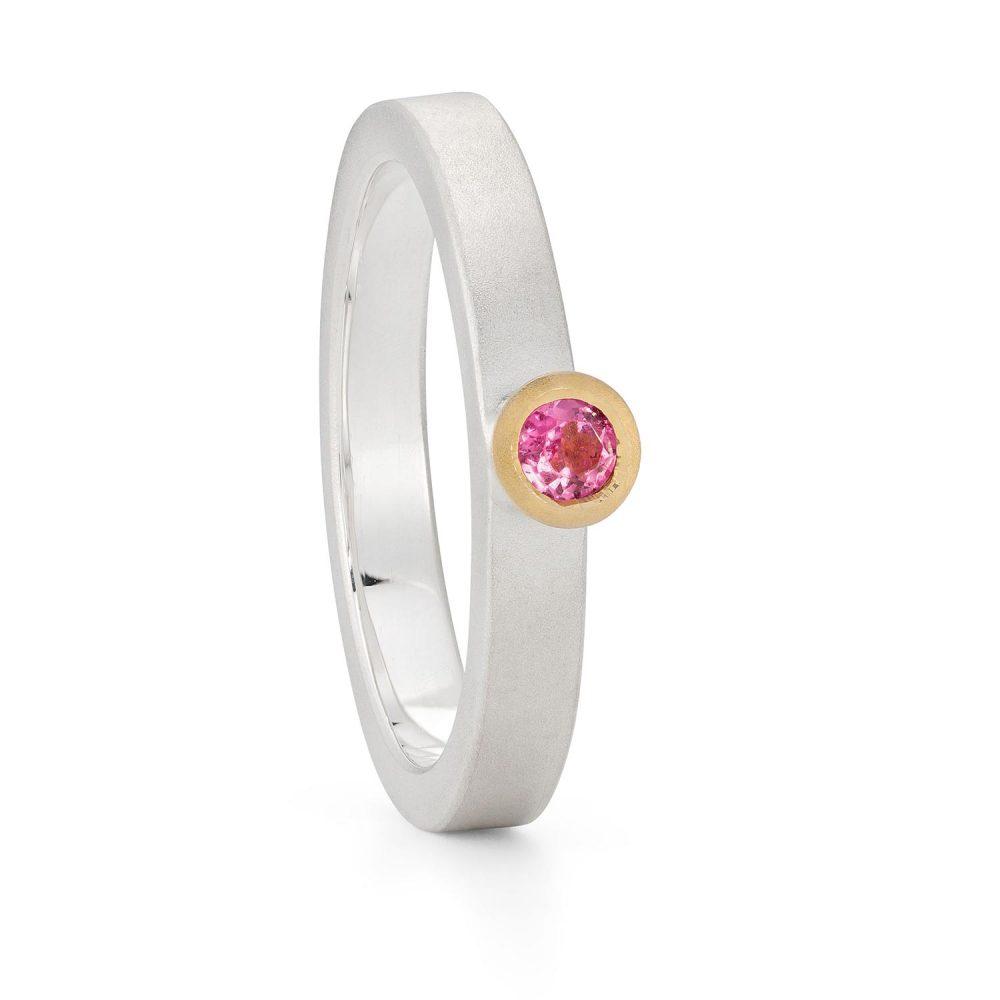 3Mm Pink Tourmaline Silver Gold Trumpet Ring Designed By Jacks Turner Bristol Jeweller