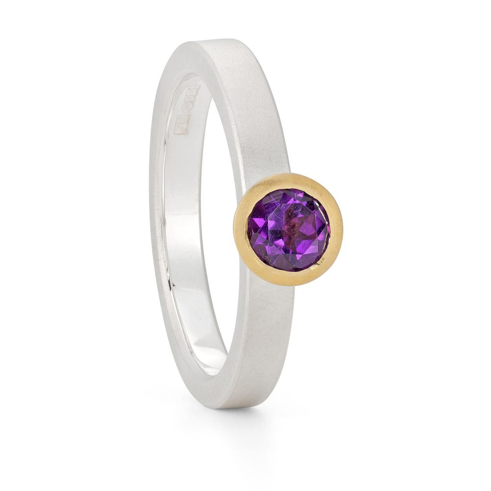 5Mm Amethyst Silver Gold Trumpet Ring Designed By Jacks Turner Bristol Jeweller