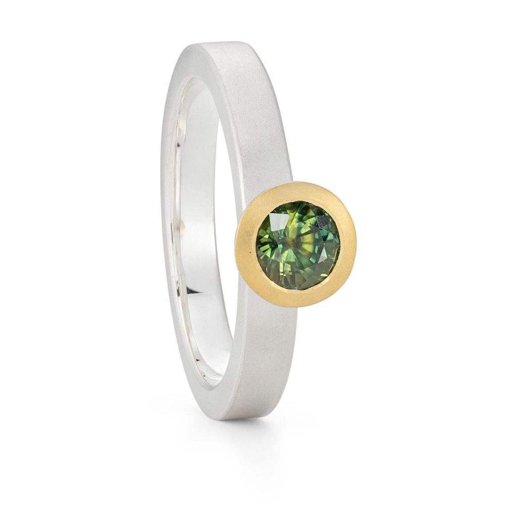 5Mm Green Sapphire Silver Gold Trumpet Ring Designed By Jacks Turner Bristol Jeweller