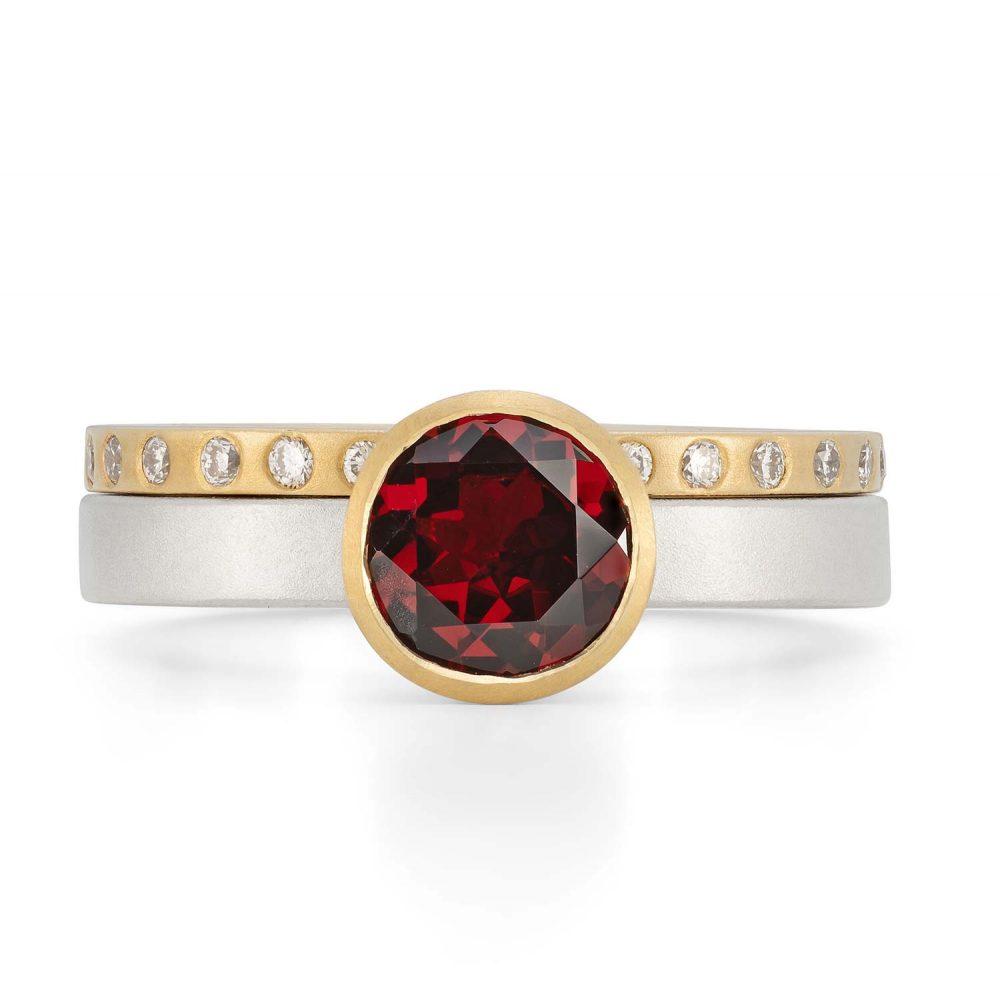 7Mm Garnet Silver Gold Trumpet Ring With Diamond Gold Wedding Ring Designed By Jacks Turner Bristol Jeweller