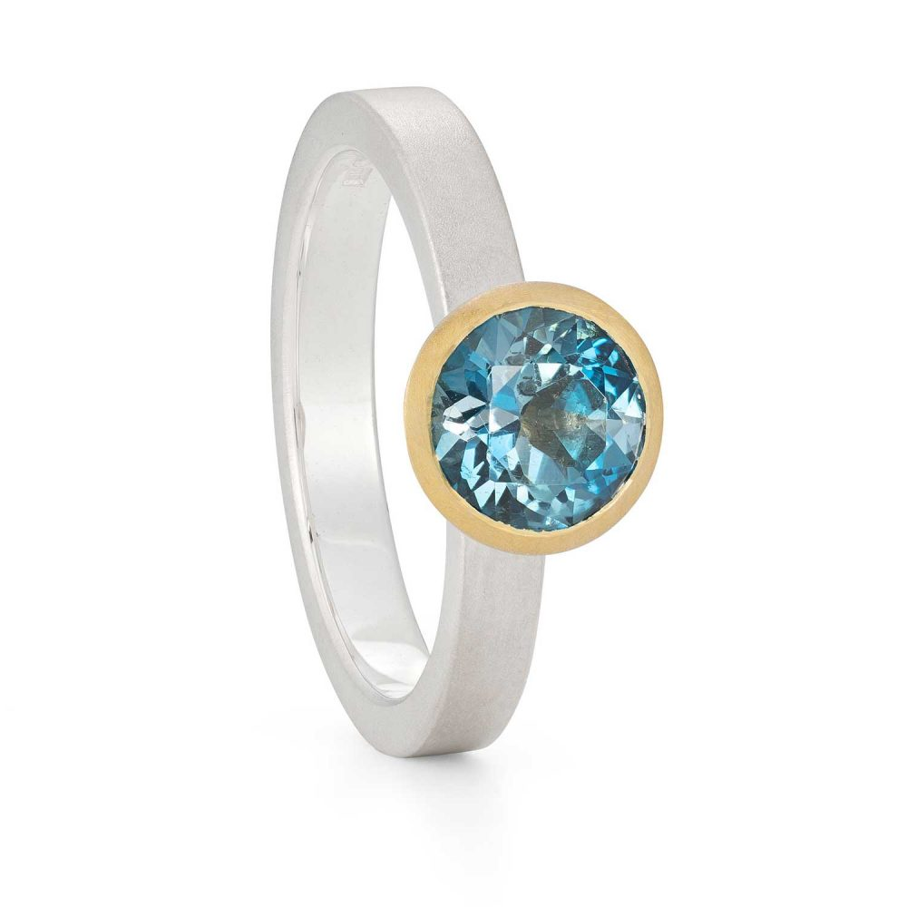 7Mm London Blue Topaz Silver Gold Trumpet Ring Designed By Jacks Turner Bristol Jeweller