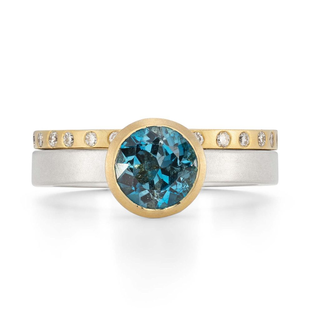7Mm London Blue Topaz Silver Gold Trumpet Ring With Diamond Gold Wedding Ring Designed By Jacks Turner Bristol Jeweller