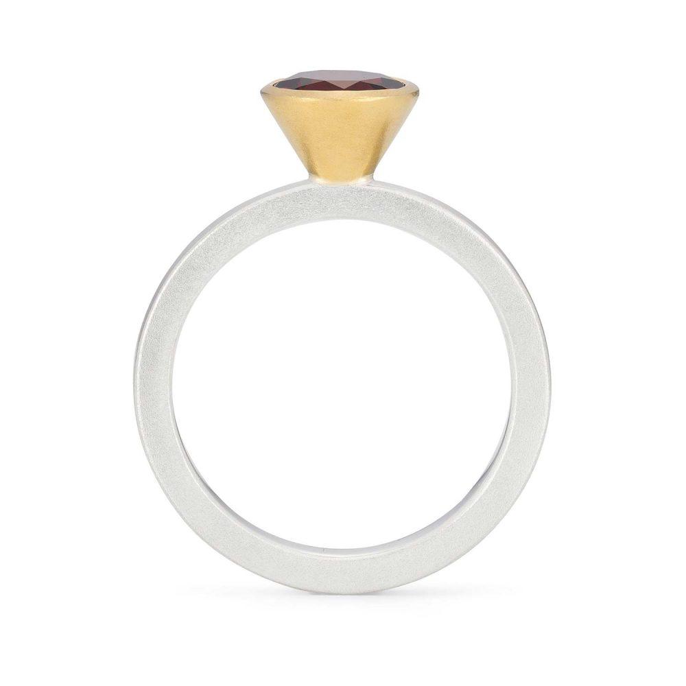 7Mm Garnet Silver Gold Trumpet Ring - Front View - Designed By Jacks Turner Bristol Jeweller